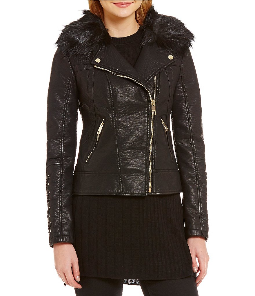Guess Faux Leather Asymmetrical Moto Jacket With Removable Faux-Fur Collar