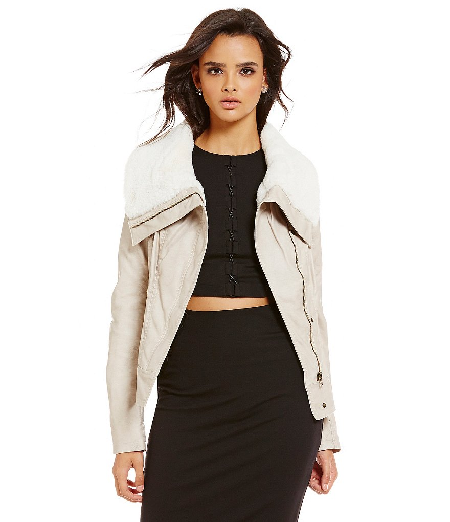 Guess Textured Faux Leather With Faux Fur Collar Moto Jacket