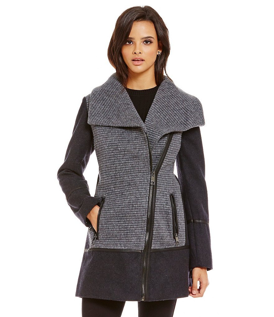 Guess Asymmetrical Colorblock Wool Melton Jacket