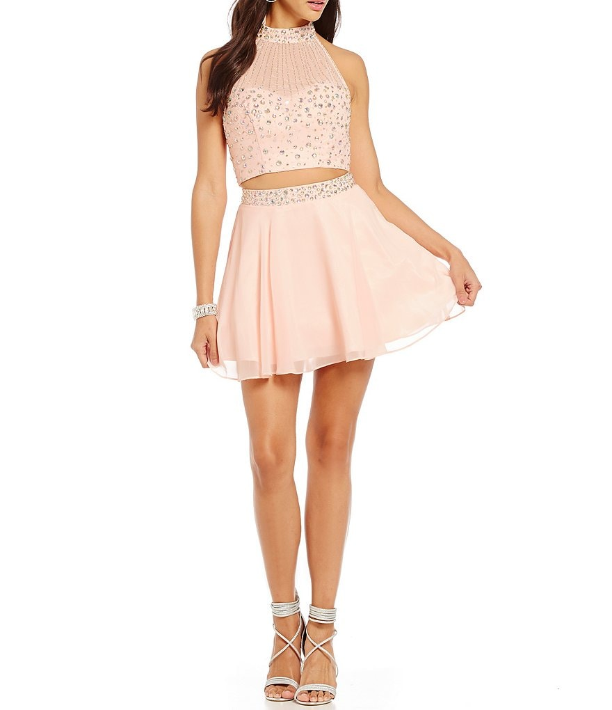 B. Darlin Mock Neck Beaded Illusion Two-Piece Party Dress