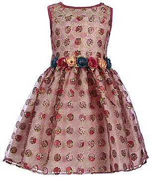 Pippa & Julie Little Girls 2T-6X Dotted Floral-Appliqué Dress