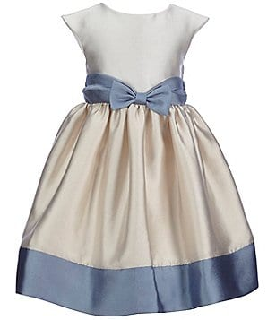 Laura Ashley London Little Girls 2T-6X Color Block Bow Dress