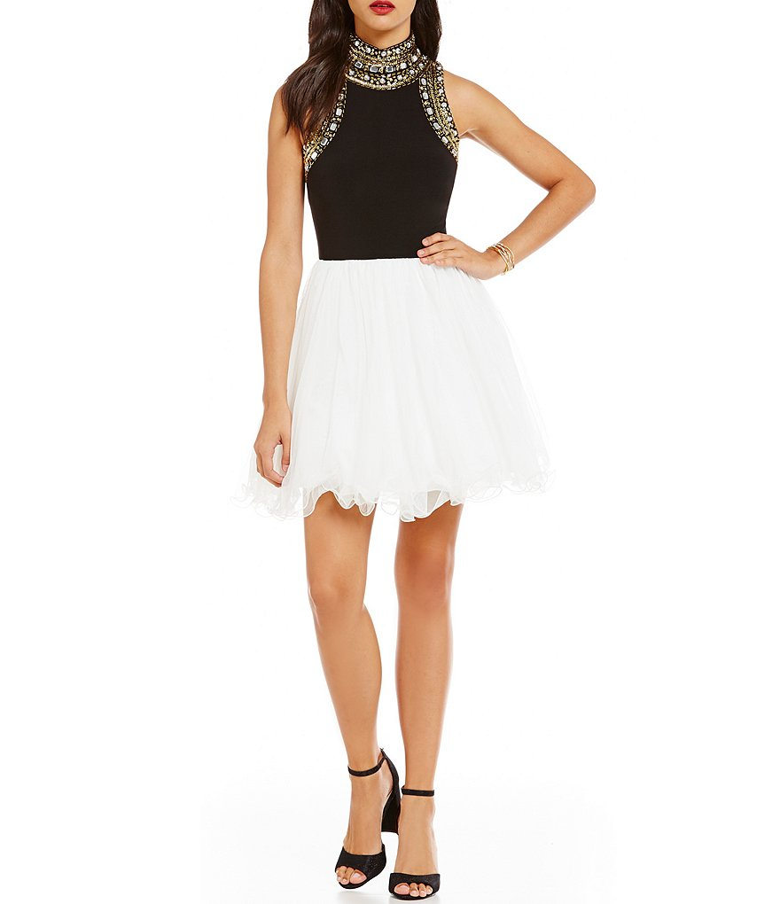 Blondie Nites Beaded Mock Neck Color Block Fit-and-Flare Party Dress