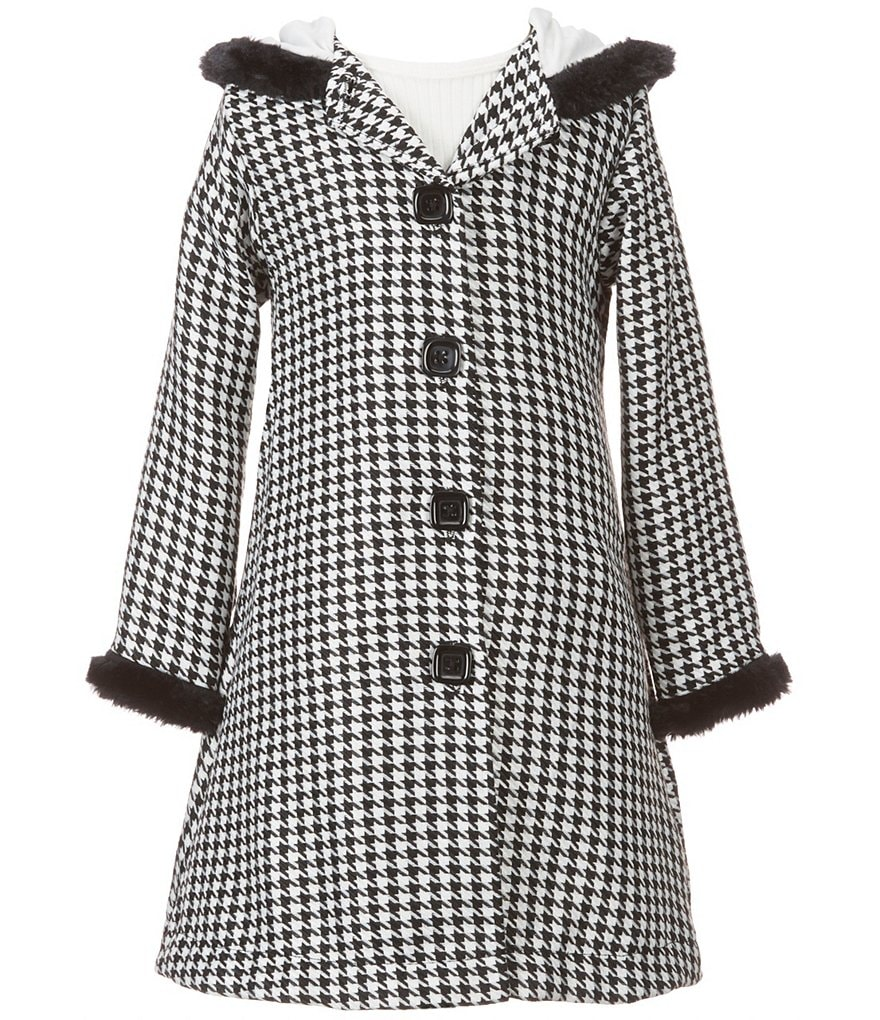 Sweet Heart Rose Little Girls 2T-6X Faux-Fur Trim Houndstooth Dress and Jacket Set
