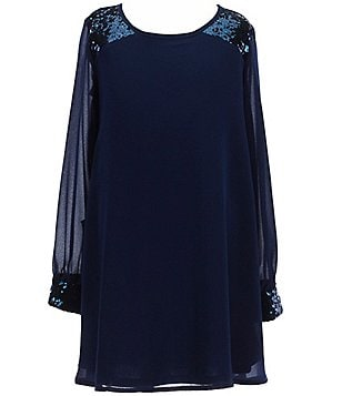 My Michelle Big Girls 7-16 Sequin Trimmed Long-Sleeve Dress