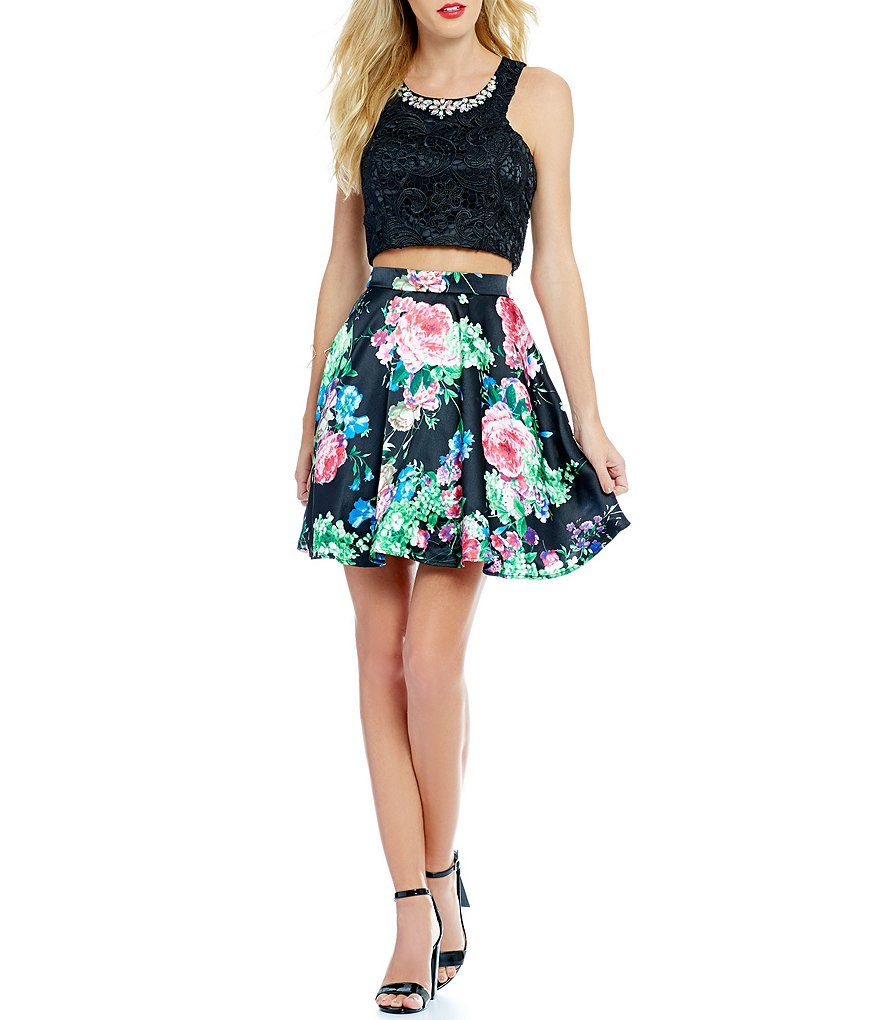 Masquerade Lace Top Floral Skirt Two-Piece Party Dress