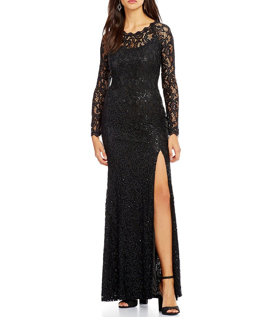 Sequin Hearts Long Sleeve Sequin Lace Long Dress