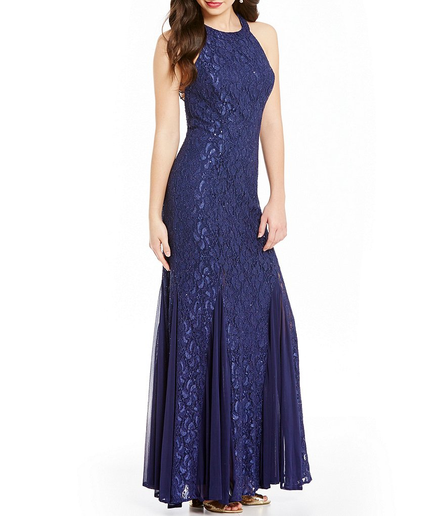 Jump Bead Draped Back Long Lace Dress
