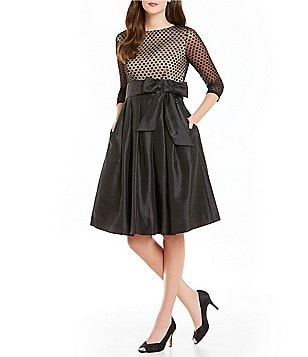 Jessica Howard Flocked Dot Fit-and-Flare Tie-Belt Party Dress