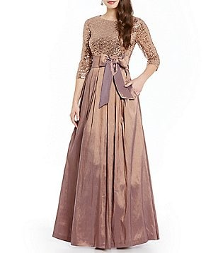 Jessica Howard 3/4-Sleeve Sequin Taffeta Ballgown