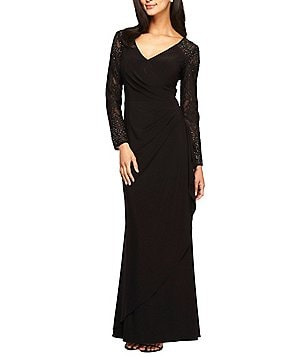 Alex Evenings Embellished Illusion Long Sleeve Gown