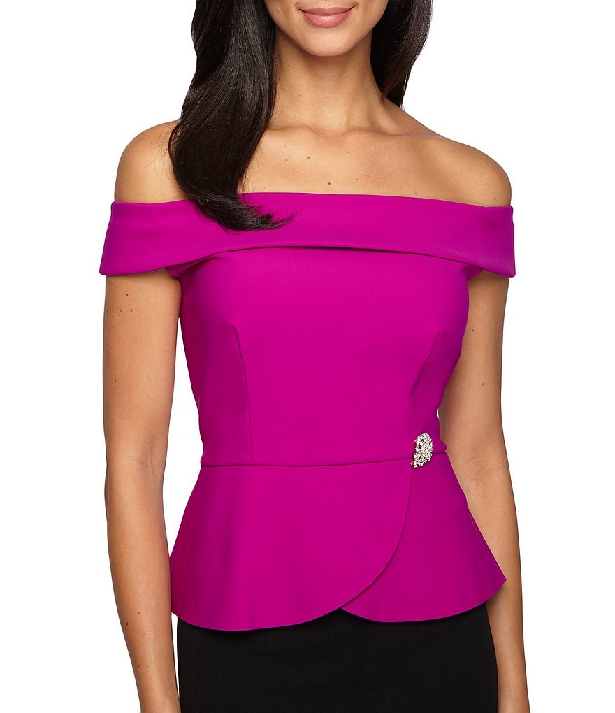 Alex Evenings Off-The-Shoulder Embellished Peplum Blouse