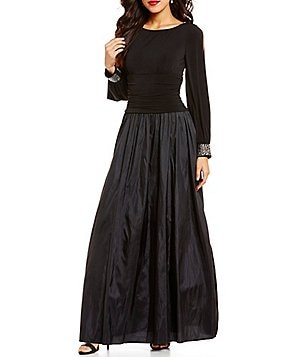 Jessica Howard Beaded-Cuff Ruched Taffeta Ballgown