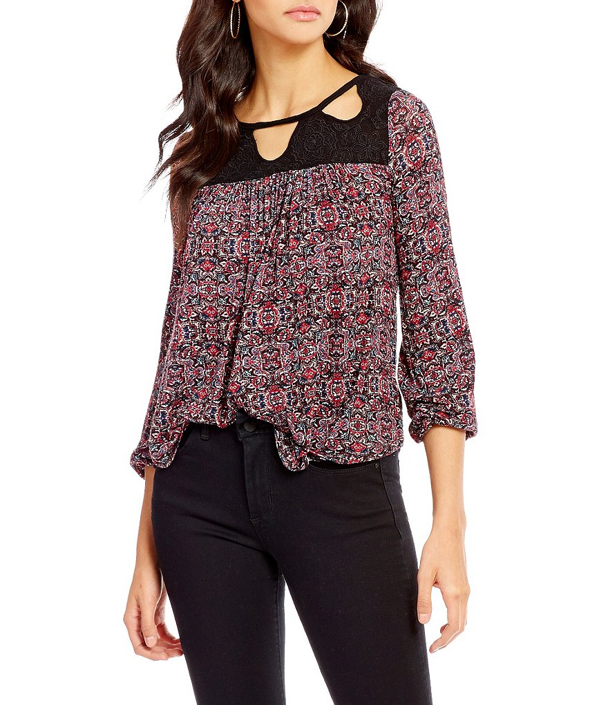 Jessica Simpson Fifi Embroidered Tapestry Print Peasant Top