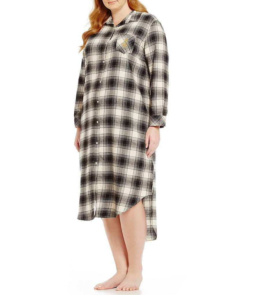 Lauren Ralph Lauren Plus Plaid Twill Maxi Sleepshirt