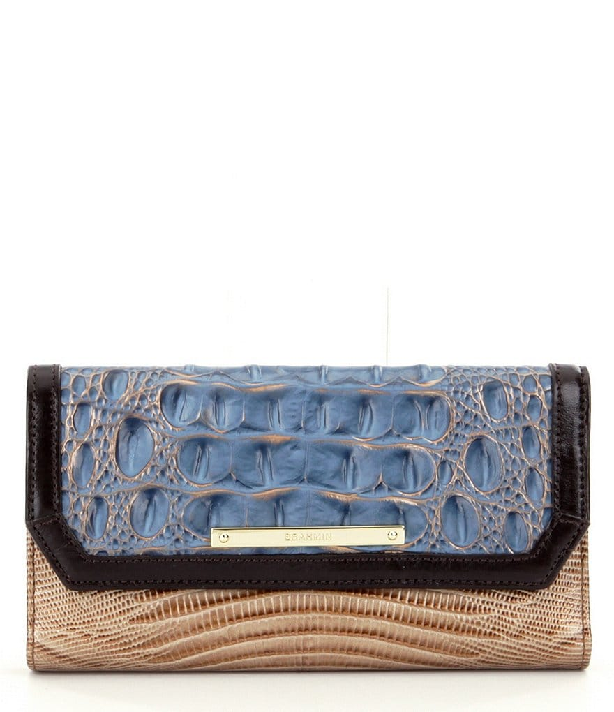 Brahmin Palma Collection Crocodile-Embossed Soft Checkbook Wallet