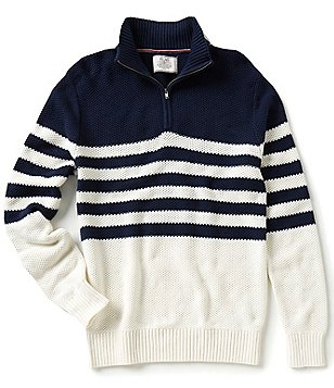 Flag & Anthem Nautical-Look Striped Quarter-Zip Mockneck Sweater