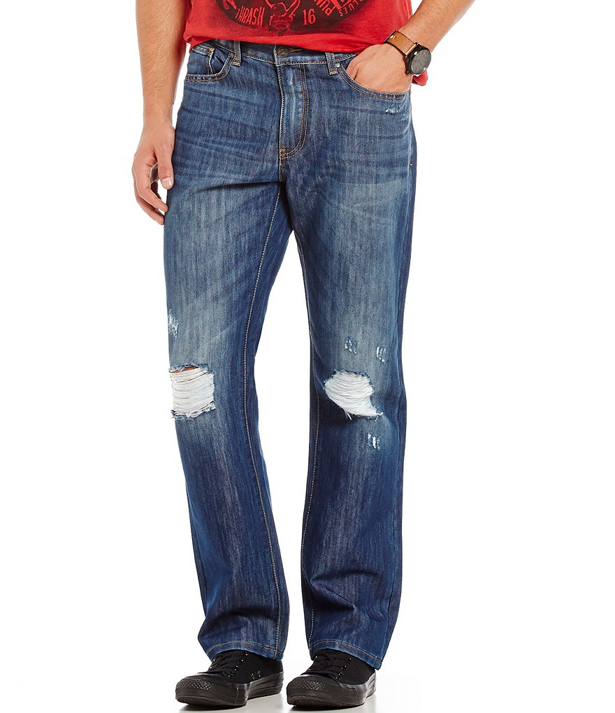 Flag & Anthem Smithsburg Straight-Leg Distressed Stretch Denim Jeans