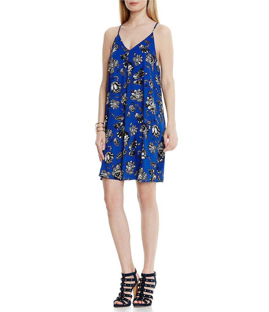 Vince Camuto Wood Block Floral Dress with Invert Pleat