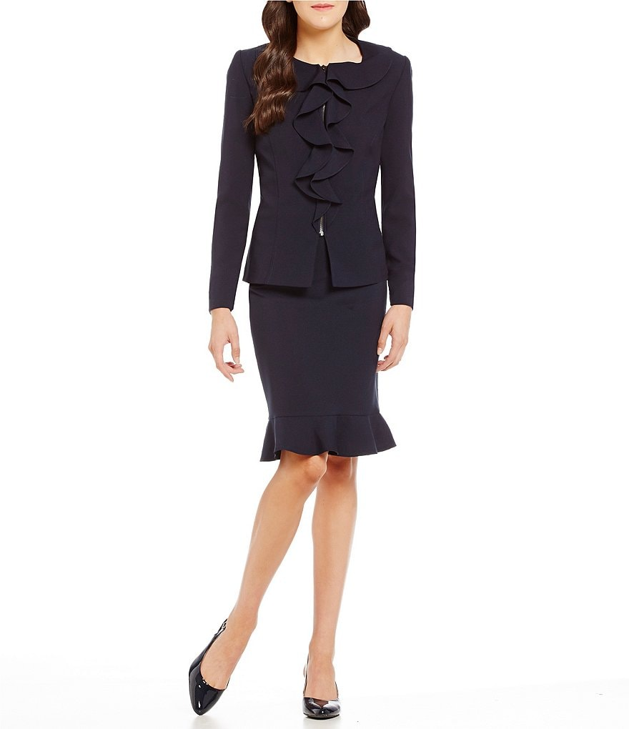 John Meyer Ruffle-Front 2-Piece Skirt Suit