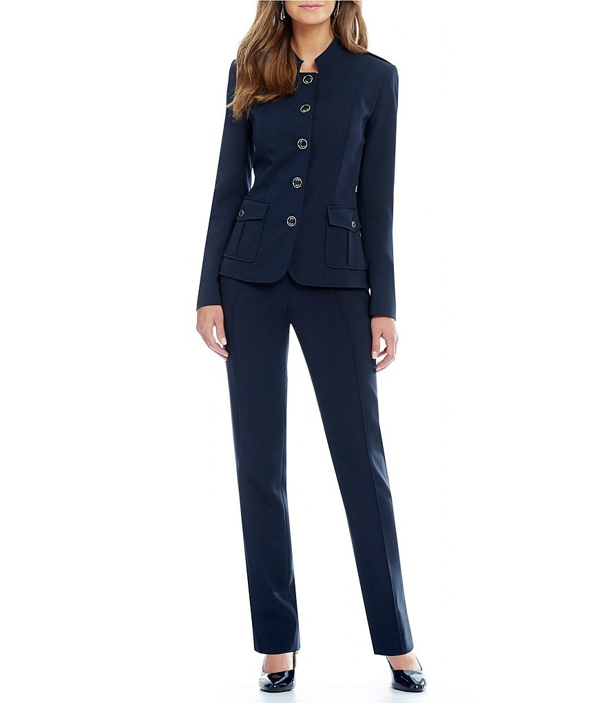 John Meyer Button-Front 2-Piece Pant Suit