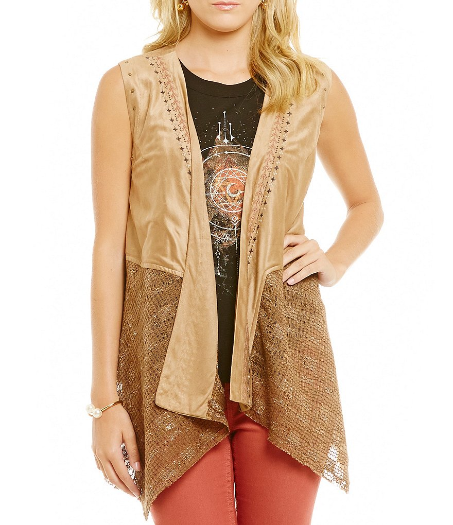 Miss Me Faux Suede Mix Media Draped Vest