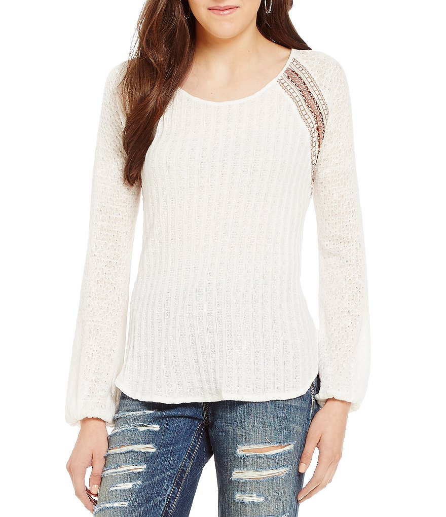 Miss Me Embroidered Waffle-Knit Top