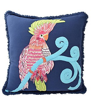 Blissliving HOME Mexico City Collection Pajaro Embroidered Parrot Pillow