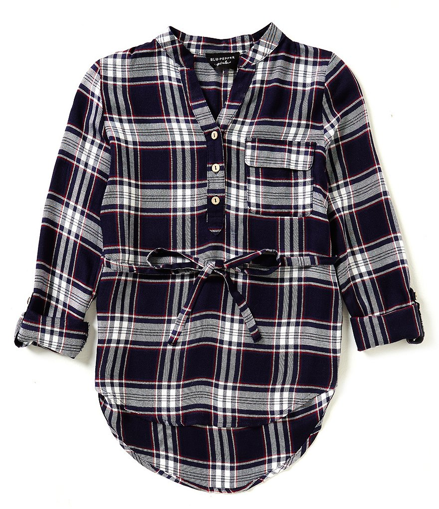 Blu Pepper Big Girls 7-16 Belted Plaid Dress