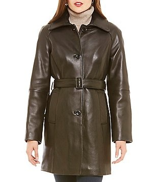 Preston & York Genuine Leather Trench Coat