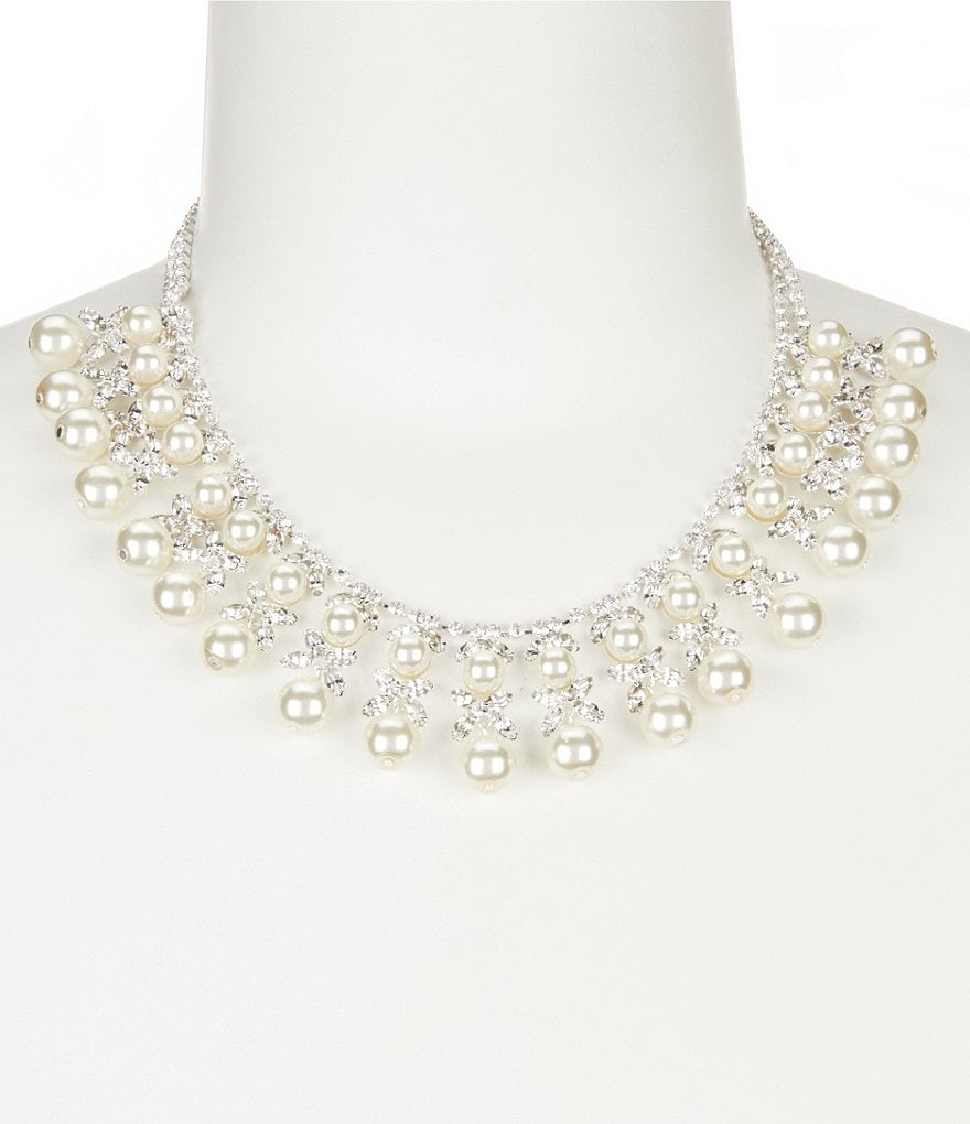 Cezanne Pearl Dynasty Rhinestone & Pearl Statement Necklace