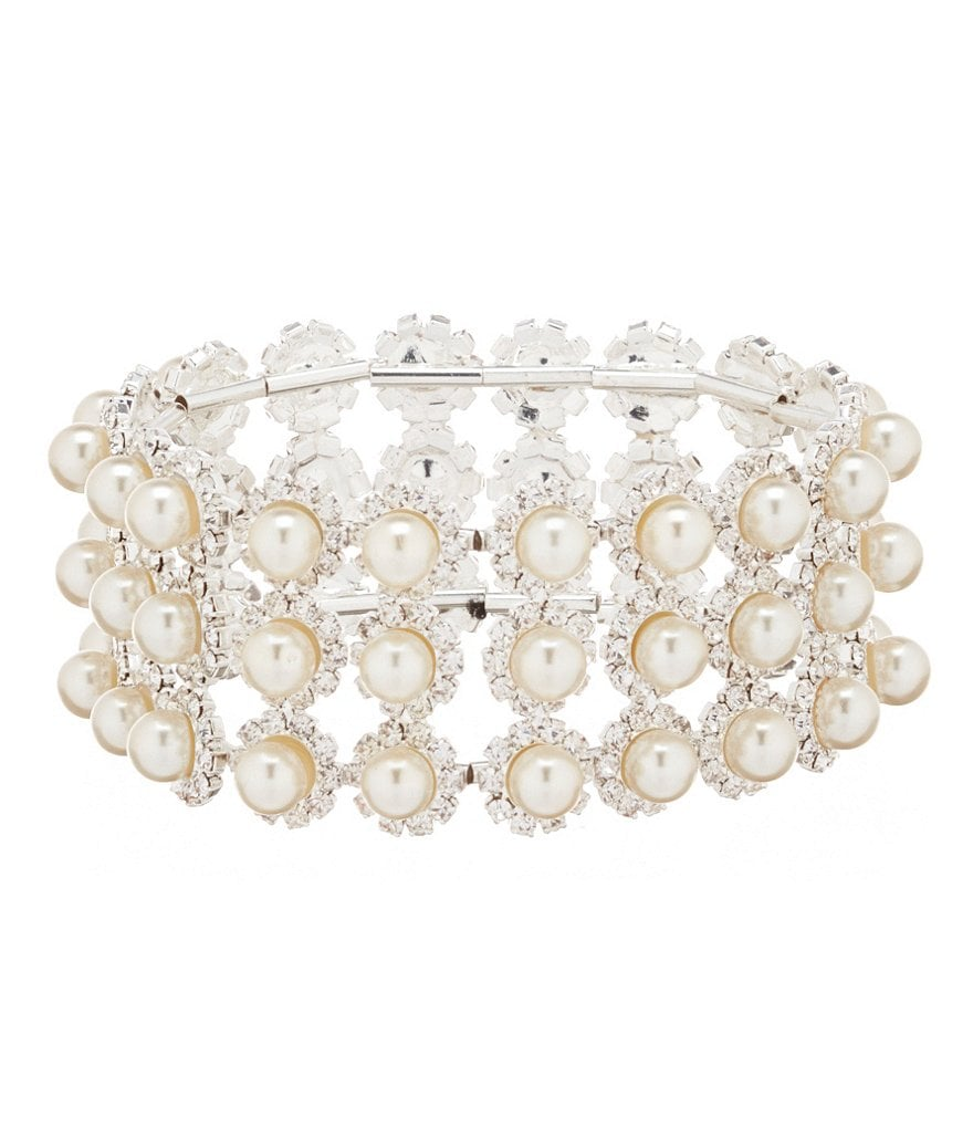Cezanne Daisy Delight Rhinestone and Pearl Stretch Bracelet