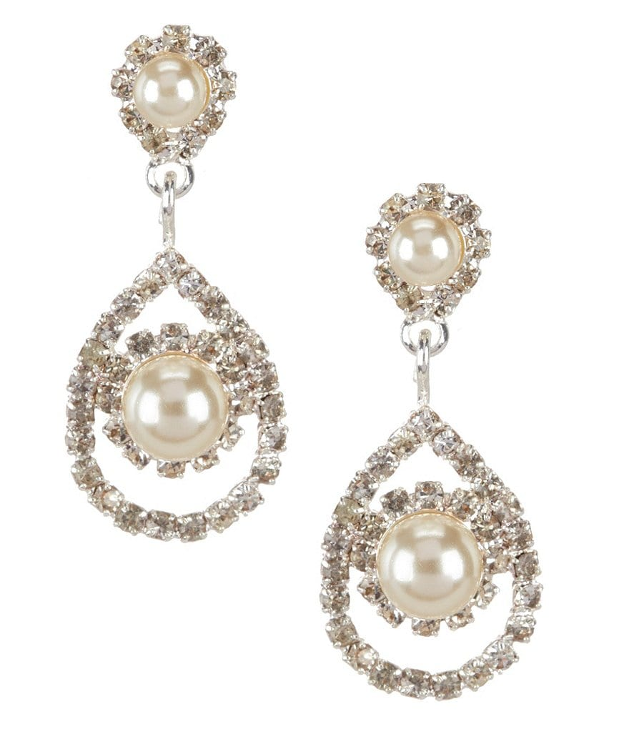 Cezanne Framed Daisy Pearl & Rhinestone Teardrop Earrings