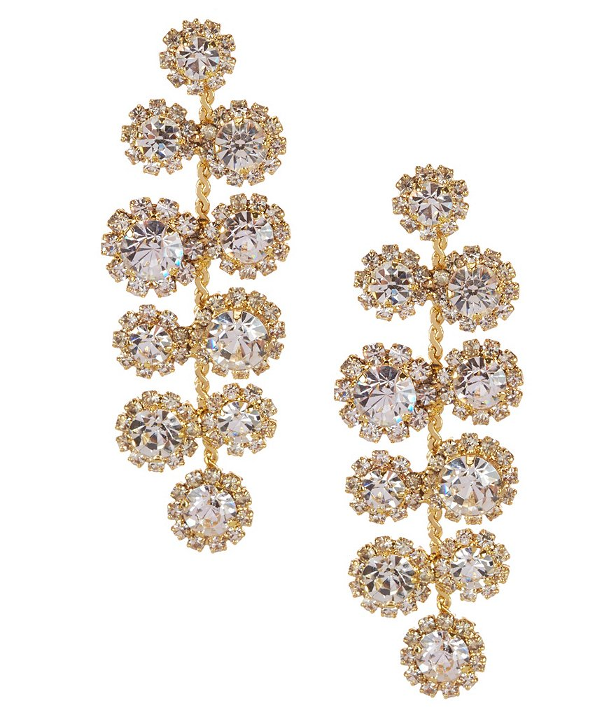 Cezanne Daisy Mosaic Rhinestone Chandelier Earrings