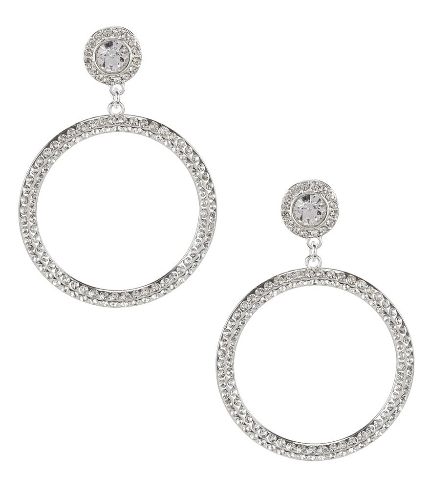 Cezanne Pavé and Rhinestone Statement Hoop Earrings