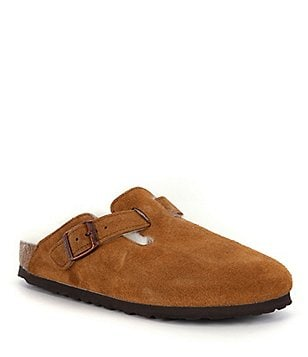 Birkenstock Boston Suede Slide On Shearling-Lined Clogs