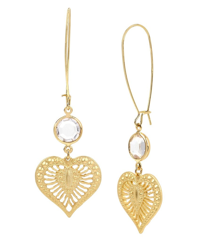 Betsey Johnson Faceted Stone and Filigree Heart Drop Earrings