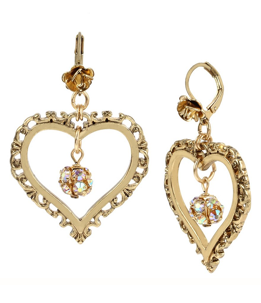 Betsey Johnson Crystal Fireball Heart Orbital Drop Earrings