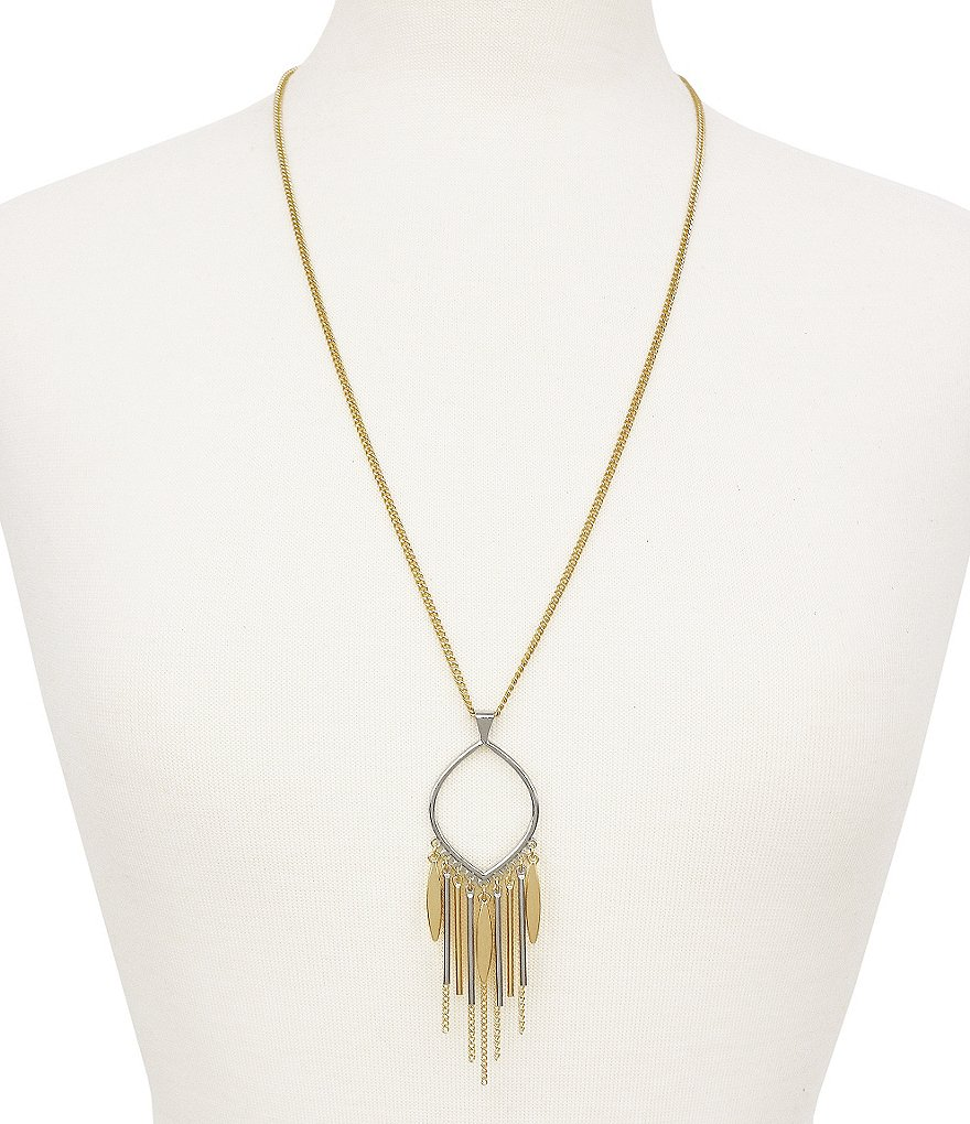 Jessica Simpson Two Tone Fringe Pendant Necklace