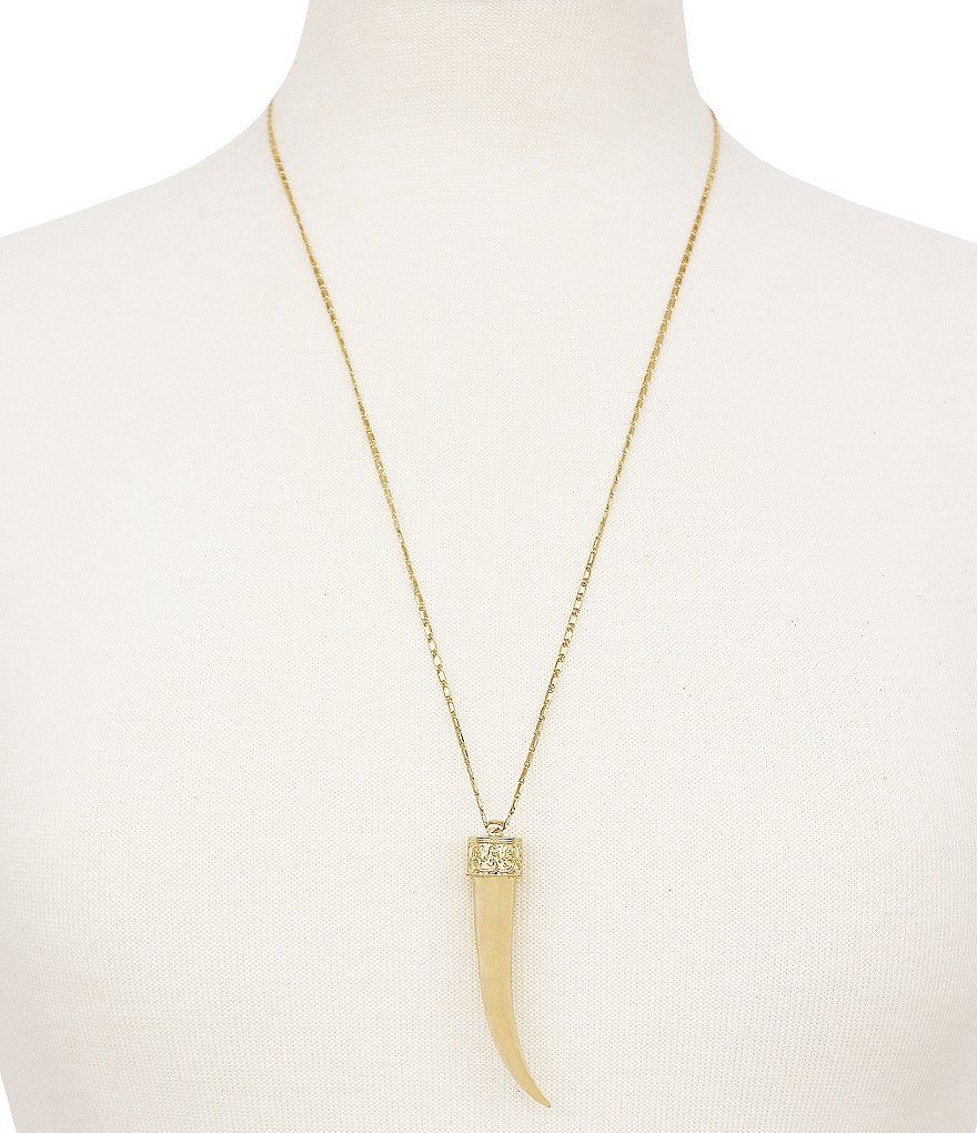 Jessica Simpson Gold Horn Pendant Necklace