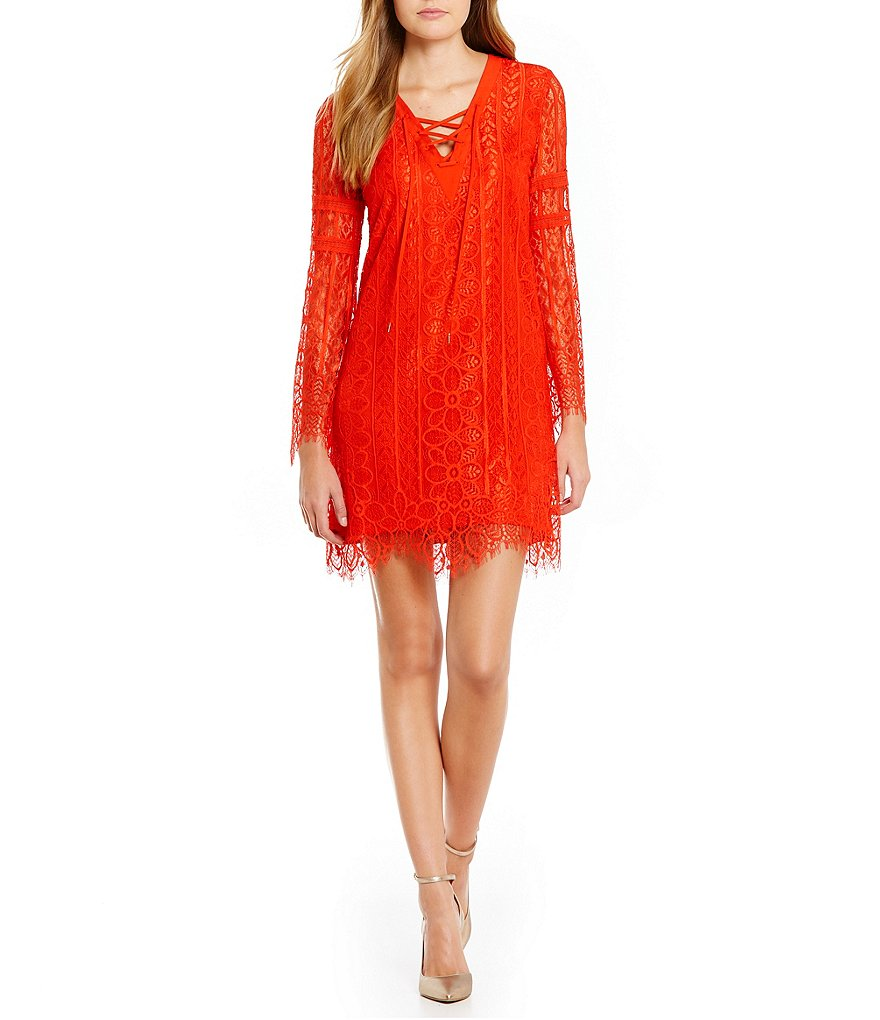 Buffalo David Bitton Lace A Lot Lace-Up Neck Dress