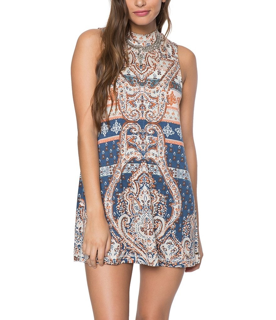 O´Neill Lennon Printed Mock Neck Swing Dress