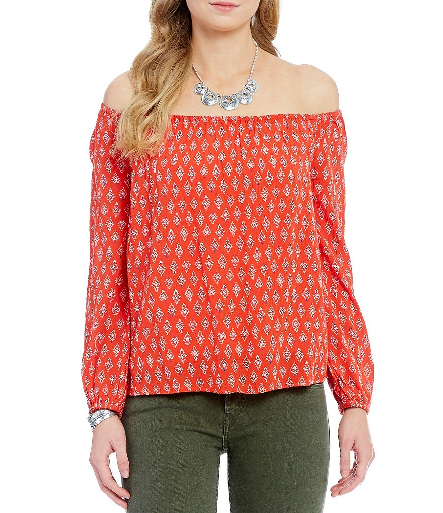 Billabong Mi Amore Off-The-Shoulder Printed Top