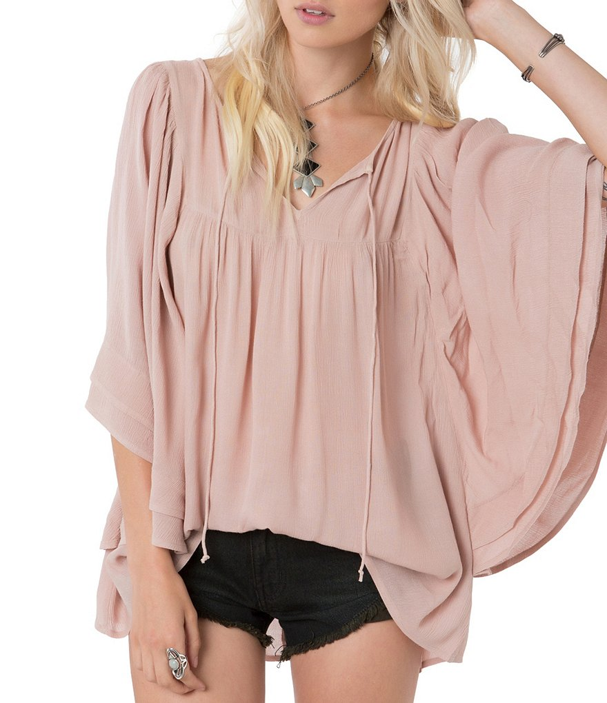 O´Neill Chet Double Layer Gauze Flutter-Sleeve Peasant Top