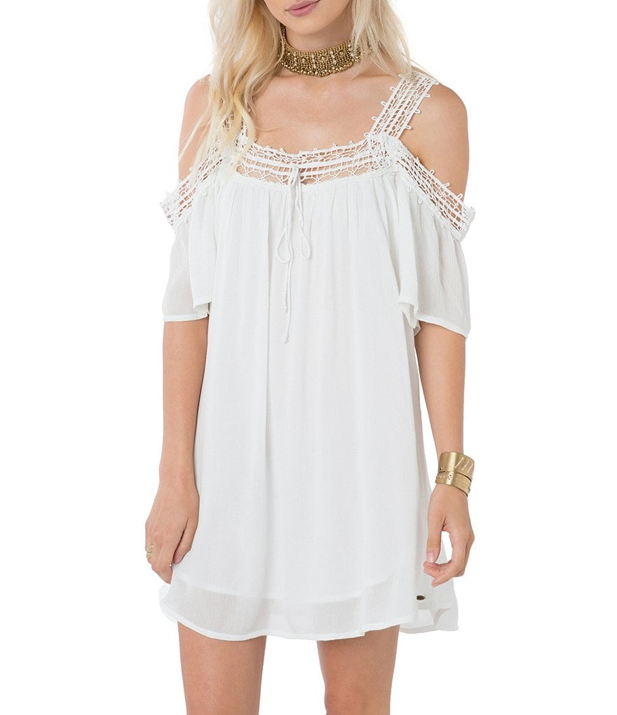 O´Neill Dominica Cold Shoulder Lace Accent Gauze Dress