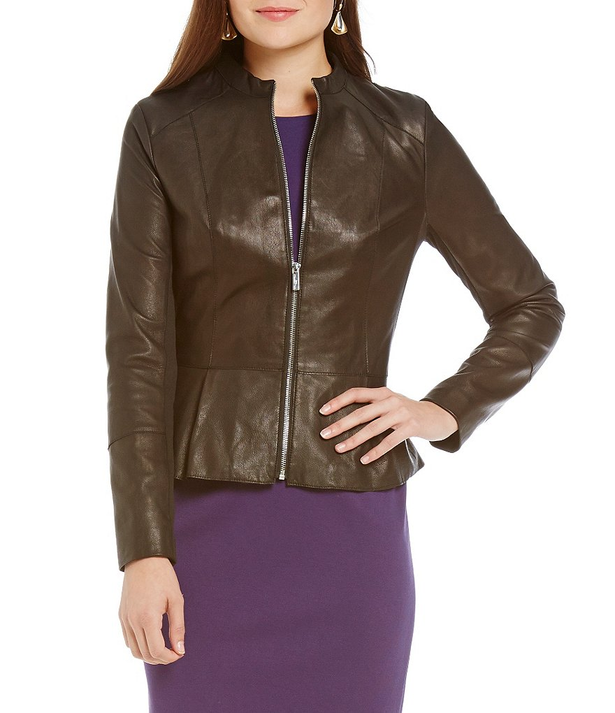Karl Lagerfeld Paris Peplum Genuine Leather Jacket