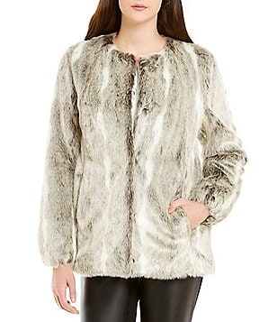 KARL LAGERFELD PARIS Textured Faux Fur Jacket