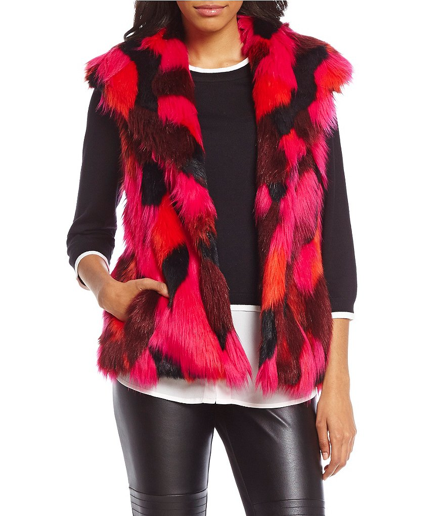 KARL LAGERFELD PARIS Multi Color Faux Fur Vest