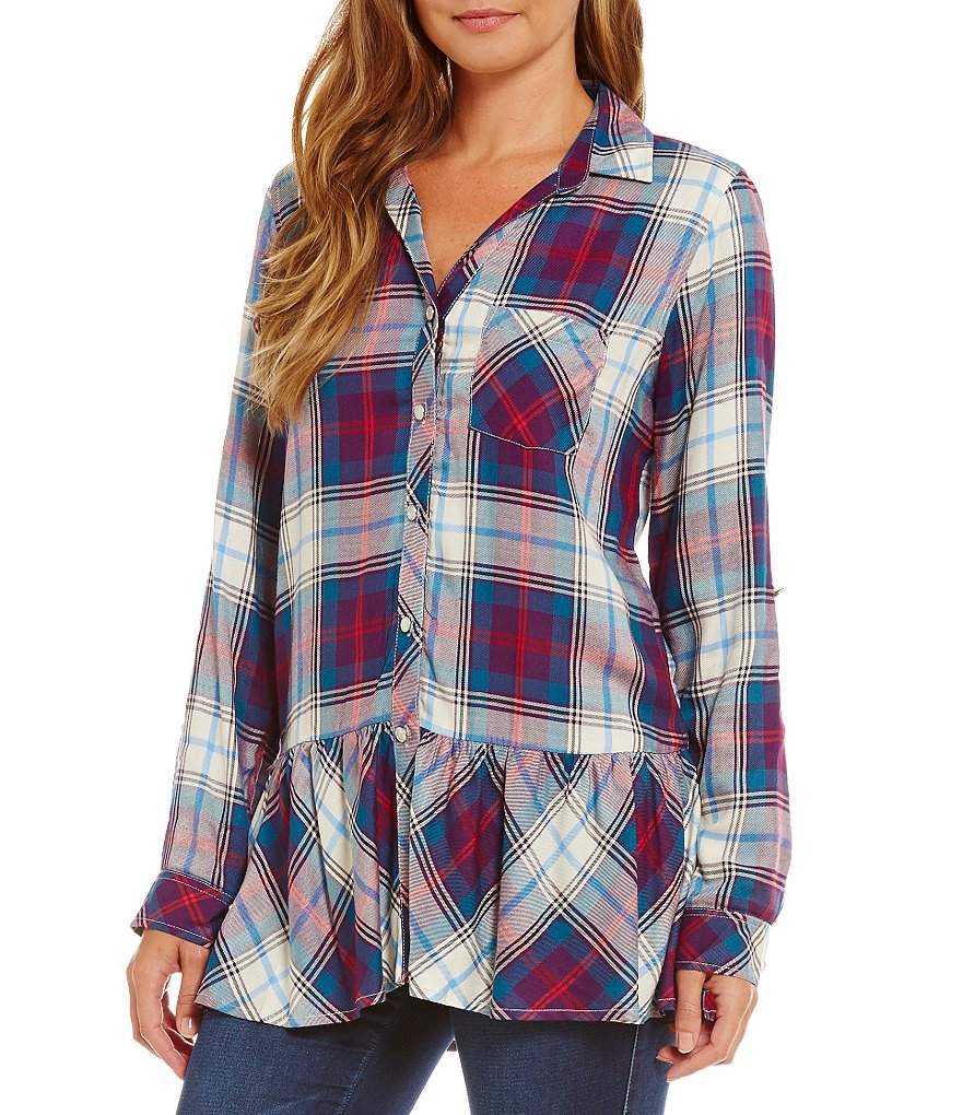 Takara Plaid Drop-Waist Button-Front Tunic