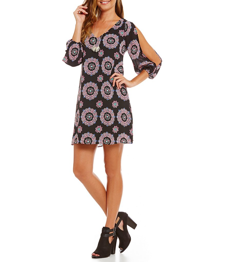 Takara Printed Cold-Shoulder Shift Dress